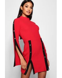 Boohoo - Popper Front Panel Bodycon Mini Dress - Lyst