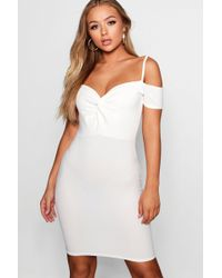 Boohoo - Knot Front Off The Shoulder Dress - Lyst