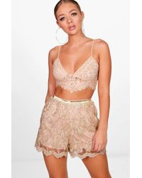 Boohoo - Eleanor All Over Embroidered Shorts - Lyst