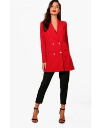 Boohoo | Abigail Premium Button Longline Blazer | Lyst