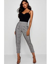 Boohoo - Prince Of Wales Check Tapered Trouser - Lyst