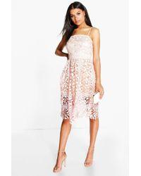 779e1ae5d691 Boohoo Dorris Floral Cut Out Side Peplum Hem Midi Dress - Lyst
