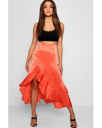 Boohoo - Satin Ruffle Thigh Split Maxi Skirt - Lyst