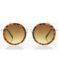 Boohoo - Contrast Tortoiseshell Round Sunglasses - Lyst