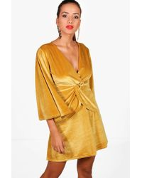 Boohoo - Angel Sleeve Twist Front Velvet Shift Dress - Lyst