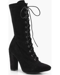 Boohoo - Molly Lace Up Block Heel Boot - Lyst
