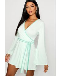Boohoo - Contrast Binding Wrap Dress - Lyst