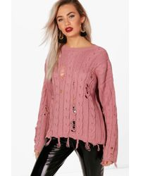 Boohoo - Holly Distressed Cable Jumper - Lyst