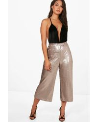 Boohoo - Becky All Over Sequin Wide Leg Culottes - Lyst