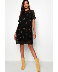 Boohoo - Tall Embroidered Smock Dress - Lyst