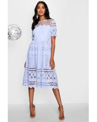 Boohoo - Boutique Corded Lace Panelled Skater Dress - Lyst