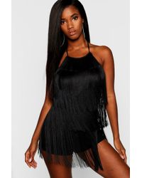 7460f55374 Lyst - Boohoo Embroidered Plunge Playsuit in Black