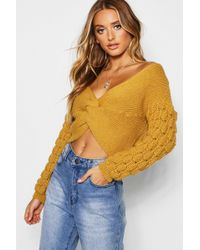 Boohoo - Twist Bobble Sleeve Jumper - Lyst