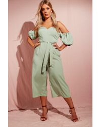 d31eb3752d1 Boohoo Plus Puff Sleeve Culotte Jumpsuit in Natural - Lyst