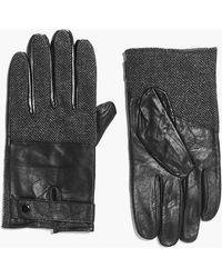 Boohoo   Herringbone Panel Leather Gloves   Lyst