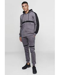 Boohoo - Hooded Panelled Tracksuit With Contrast Piping - Lyst