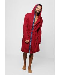 Boohoo - Jersey Fleece Hooded Robe With Man Taping - Lyst
