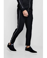 BoohooMAN - Crepe Piped Detail Cropped Smart Jogger Co-ord - Lyst