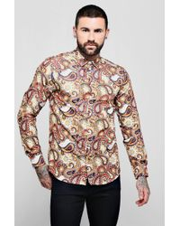 Boohoo - Large Paisley Print Long Sleeve Shirt - Lyst