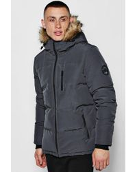 Boohoo - Padded Parka With Faux Fur Trim Hood - Lyst