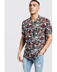 8f0c8ac3 Boohoo Red Floral Printed Short Sleeve Shirt in White for Men - Lyst