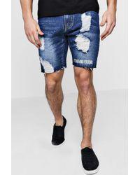 Boohoo - Slim Fit Distressed Denim Shorts With Print - Lyst