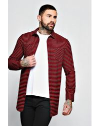 Boohoo - Red Check Long Sleeve Shirt In Longline - Lyst