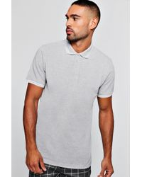 Boohoo - Slim Fit Pique Polo With Tipping - Lyst