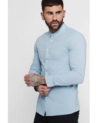 Boohoo - Long Sleeve Nepp Oxford Shirt - Lyst