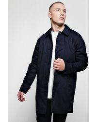 BoohooMAN - Single Breasted Button Through Cotton Mac - Lyst