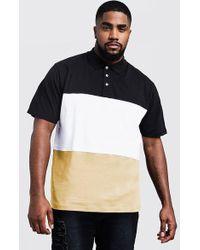 BoohooMAN - Big And Tall Colour Block Polo Shirt - Lyst
