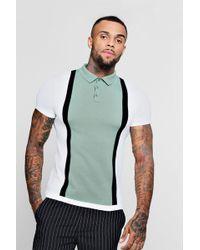Boohoo - Colour Block Short Sleeve Knitted Polo - Lyst