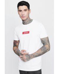 Boohoo - Man Red Box Logo Print T-shirt - Lyst