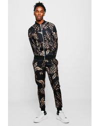 Boohoo - Palm Print Bomber Tracksuit - Lyst