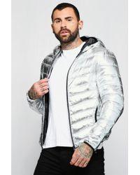 Boohoo - Silver Metallic Puffer Jacket - Lyst