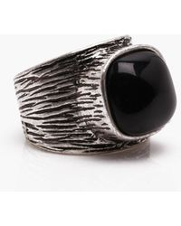 Boohoo - Worn Silver Ring With Slate Stone - Lyst