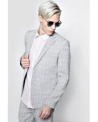 Boohoo - Skinny Fit Window Pane Check Suit Jacket - Lyst