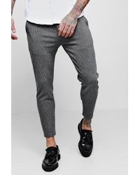 Boohoo - Woven Fine Pinstripe Tapered Jogger - Lyst