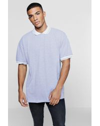 Boohoo - Oversized Pique Polo With Tipping - Lyst