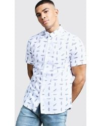 40a83ff22c River Island White Feather Print Long Sleeve Shirt in White for Men ...