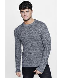 Boohoo - Crew Neck Ribbed Jumper With Twisted Knit - Lyst