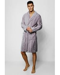c31983b8adf9 Lyst - Boohoo Mens Shaggy Fleece Dressing Gown in Gray for Men