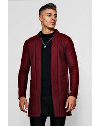 Boohoo - Edge To Edge Smart Wool Look Overcoat - Lyst