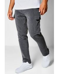 Boohoo - Charcoal Cargo Formal Trousers - Lyst