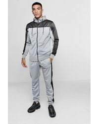 Boohoo - Contrast Panel Zip Hooded Tricot Tracksuit - Lyst