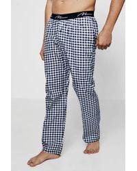 Boohoo - Navy And Grey Checked Pyjama Trousers - Lyst