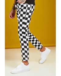 BoohooMAN Slim Fit Checkerboard Print Jeans