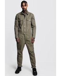 BoohooMAN - Cotton Twill Utility Boiler Suit - Lyst