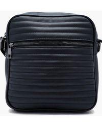 e132769cbc46 BoohooMAN One Strap Pu Bag With Stripe Webbing Strap in Black for ...
