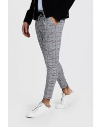 BoohooMAN - Prince Of Wales Red Check Smart Jogger - Lyst
